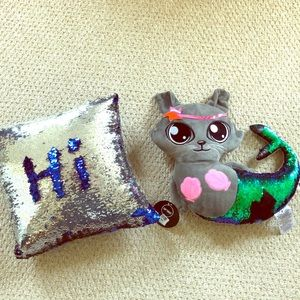 Other - Girls reversible sequin pillow and NWT mermaid cat